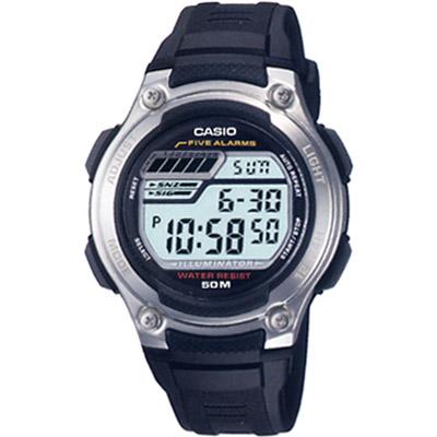 CASIO 兩地時間元氣休閒數字錶(W-212H-1A)-黑膠帶