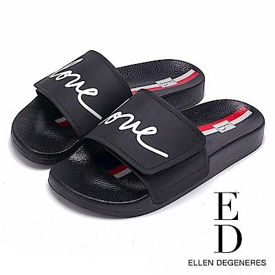ED Ellen DeGeneres 潮流LOVE一字拖鞋-黑色
