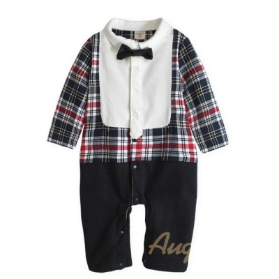 baby童衣-假兩件貴族紳士格紋連身衣-37028
