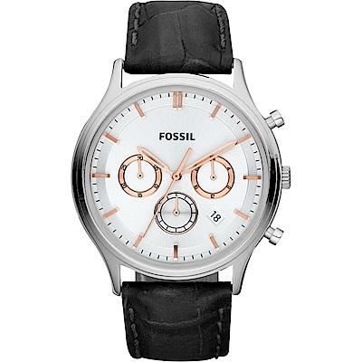 FOSSIL 復古潮男時尚手錶(FS4640)-銀x黑/41mm
