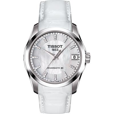TISSOT 天梭 建構師 Powermatic 80 真鑽機械女錶-珍珠貝/32mm
