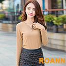 V領流蘇吊墜裝飾坑條紋長袖T恤 (共三色)-ROANN
