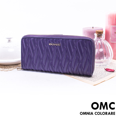 OMC - 韓國專櫃立體抓皺感單拉鍊多卡真皮長夾-時尚紫