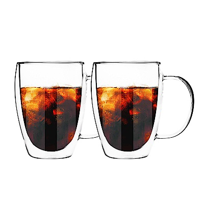 FUSHIMA日系雙層耐熱玻璃杯350ML(把手)*2入