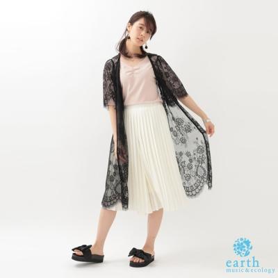 earth music 蕾絲花邊長版罩衫/外套