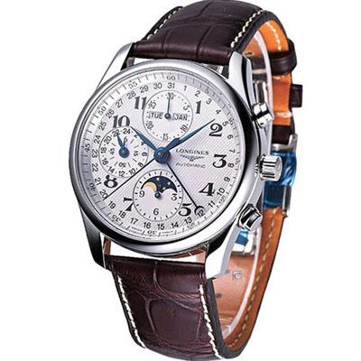 LONGINES Master巨擘月相盈虧全日曆計時碼錶-白x咖啡色/42mm