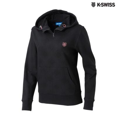 K-Swiss Allover Print Hoodie印花連帽上衣-女-黑