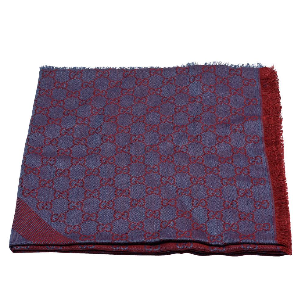 GUCCI 經典GG緹花線條羊毛混絲斜紋雙色流蘇披巾/圍巾(紫X紅)GUCCI