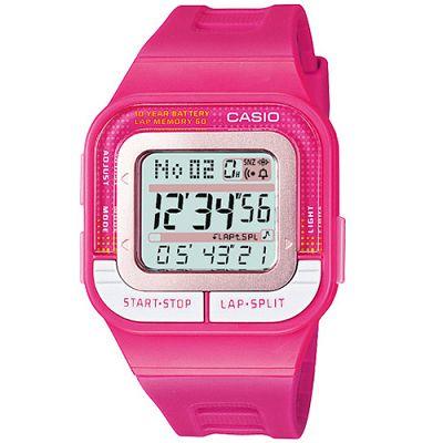 CASIO  10 年電力慢跑數位運動風錶(SDB- 100 - 4 A)-桃紅/ 43 . 9 mm