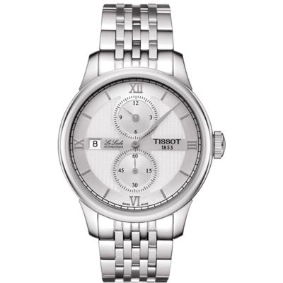 TISSOT 天梭  LE LOCLE 力洛克系列 紳士機械腕錶-銀/40mm