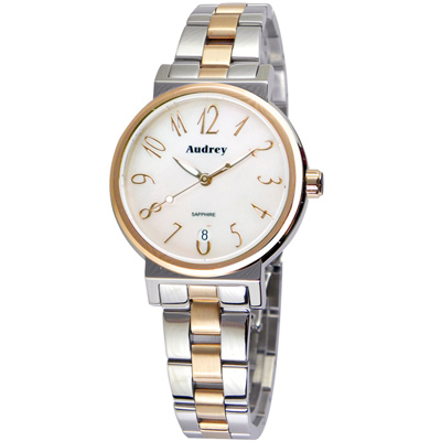 Audrey 歐德利 氣質出眾 時尚珍珠貝女錶(AUGM 5652 )-白x雙色/ 33 mm