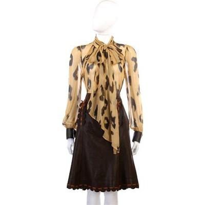 MOSCHINO 咖啡色橘線飾邊及膝皮裙