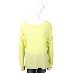 ALLUDE 喀什米爾螢光黃捲邊細節薄針織羊毛衫