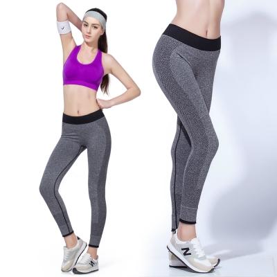 LOTUS-高彈力瑜珈九分快乾慢跑運動褲-灰色