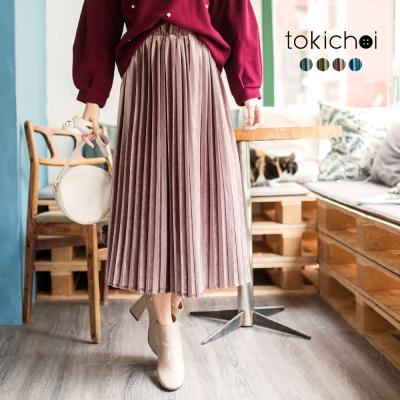 東京著衣 多色古典美人質感絨毛百褶長裙-S.M(共四色)