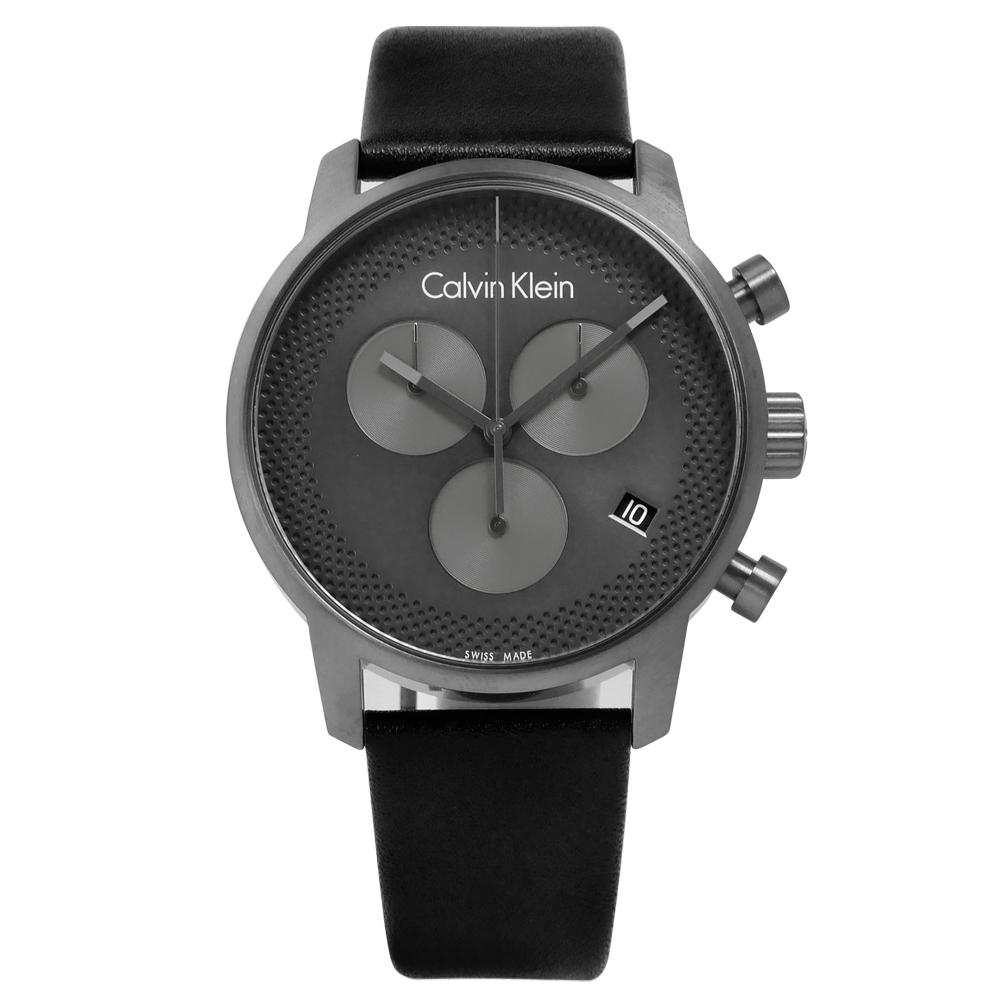 CK 沉穩俐落歐美三環皮革手錶 - 灰x黑  /43mm