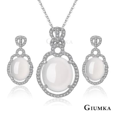 GIUMKA半寶白瑪瑙項鍊耳環套組 雍容閒雅-共4款