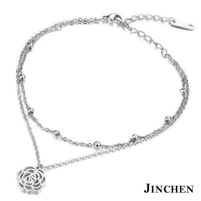 JINCHEN 白鋼薔薇腳鍊