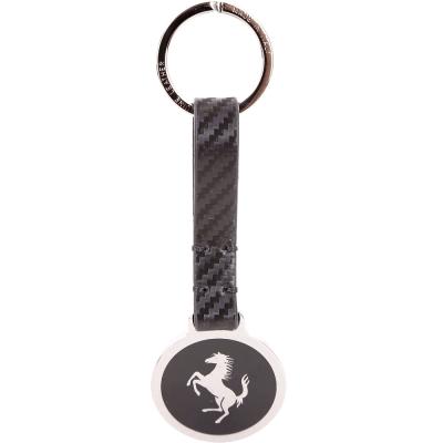 TOD'S for Ferrari 銀色圓牌法拉利聯名款吊飾/鑰匙圈(黑色)