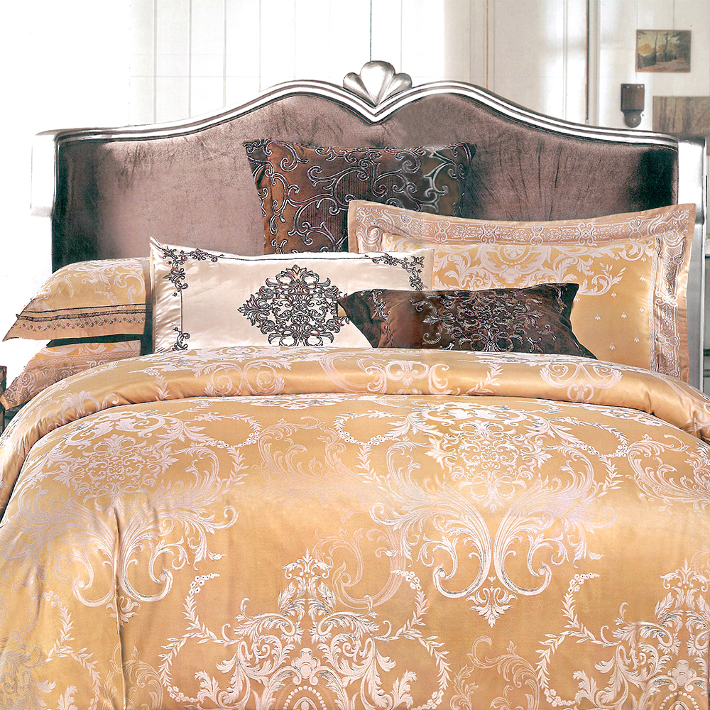 義大利La Belle 奧斯凡賽 雙人緹花四件式被套床包組