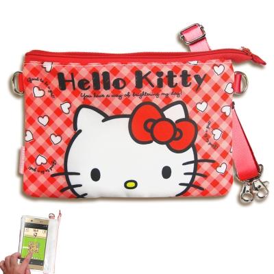 三麗鷗授權 Hello Kitty 觸控手機肩背包(紅格)