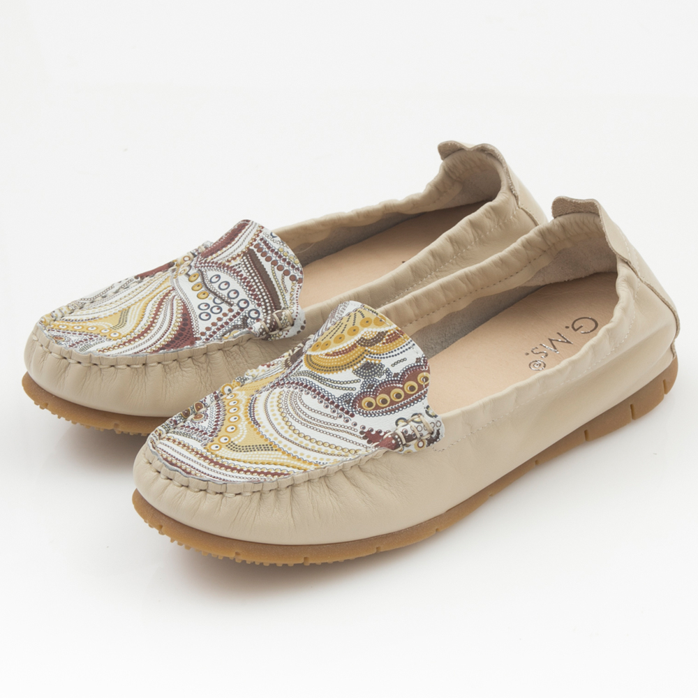 G.Ms.MIT系列-變形蟲印花牛皮莫卡辛鞋-百搭米