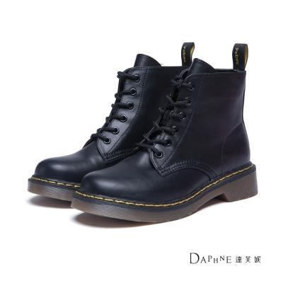 達芙妮DAPHNE-短靴-經典綁帶工程短靴-黑