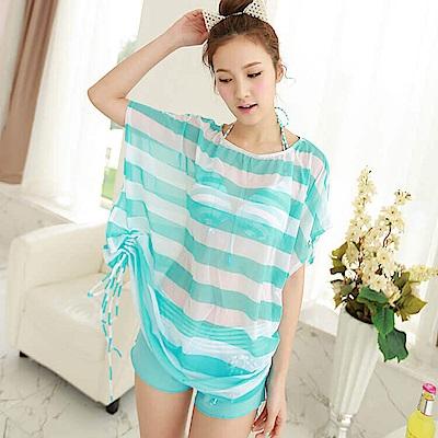 【AngelLuna日本泳裝】簡約條紋四件式比基尼泳衣-一字領藍色