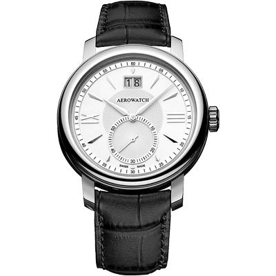 AEROWATCH Renaissance 大視窗小秒針腕錶-銀/40mm