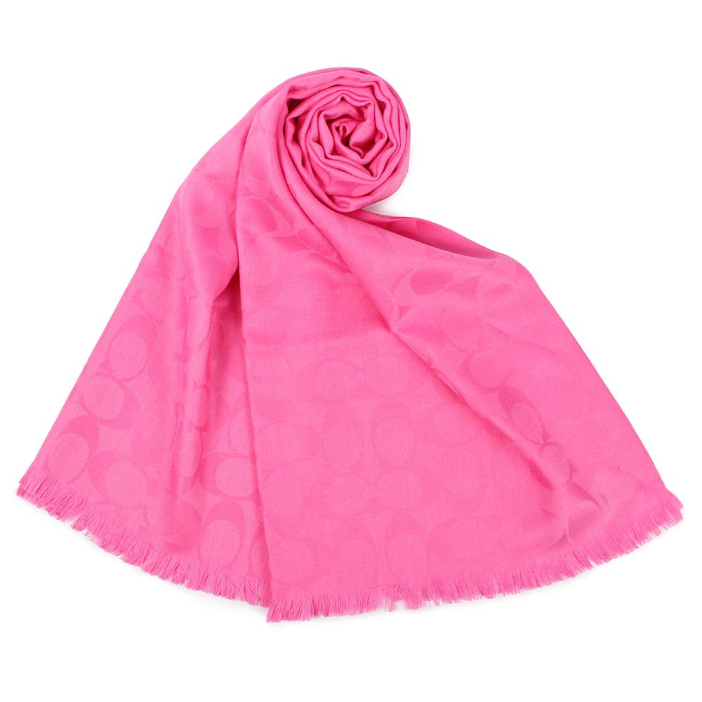 COACH 經典滿版LOGO羊毛混絲針織披肩圍巾-桃粉色COACH
