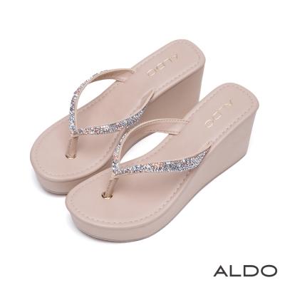 ALDO-奢華寶貝V字彩鑽夾腳船型厚底涼鞋-氣質裸
