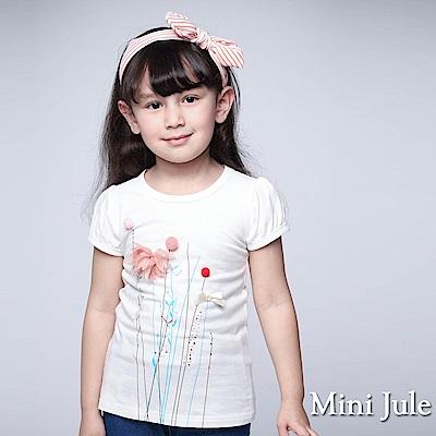 Mini Jule 童裝-上衣 立體球球花朵短袖T恤(米白)