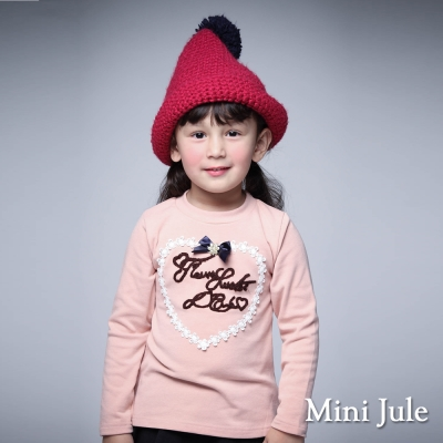Mini Jule 童裝-上衣 花朵排列愛心字母長袖T恤(粉)