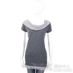 i BLUES 灰色拼接造型設計長版上衣