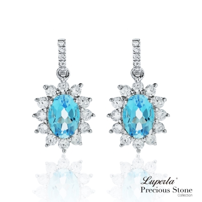 大東山珠寶 星座愛情 藍托帕石璀璨純銀耳環 燦爛極光