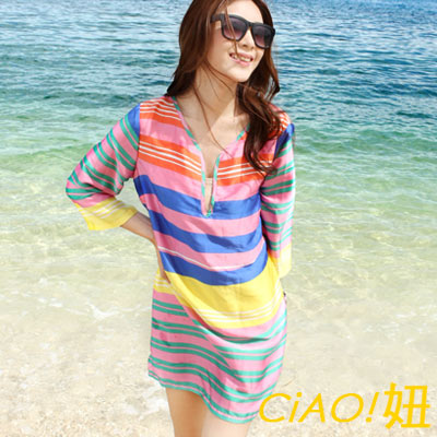 性感綢緞V領條紋連身裙 (彩色)-CiAO妞