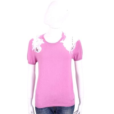 ROCCO RAGNI 粉紫色蕾絲拼接棉質短袖針織上衣