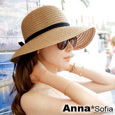 AnnaSofia 緞帶黑結 寬簷遮陽草帽(駝系)