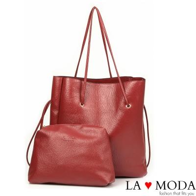 La Moda 品牌專屬系列 - 正韓版長型子母托特包(紅)