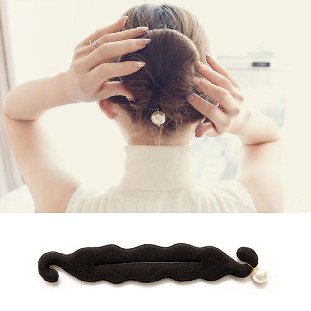 梨花HaNA 韓國細緻氣息珍珠吊綴丸子頭花苞頭髮帶