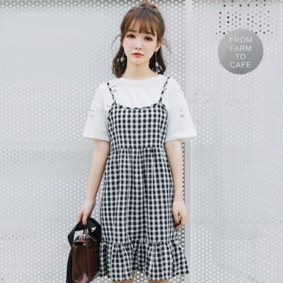 韓系-復古黑白格細肩帶洋裝-黑白-91-KOKO
