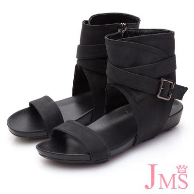 JMS-簡約一字帥氣潮流款靴型涼鞋-黑色