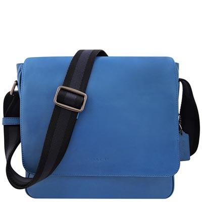 COACH 藍色皮革壓紋斜背包