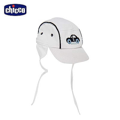chicco-競速小熊-遮耳棒球帽-白
