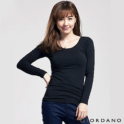 GIORDANO 女裝G-Warmer彈力舒適圓領極暖衣 -18 標誌黑色