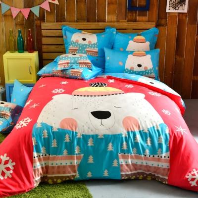 義大利Fancy Belle 加大貢緞防蹣抗菌吸濕排汗兩用被床包組 大白熊