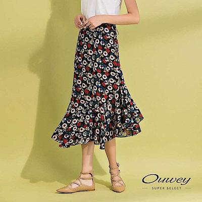 OUWEY歐薇 花卉雪紡不規則造型印花裙(黑)