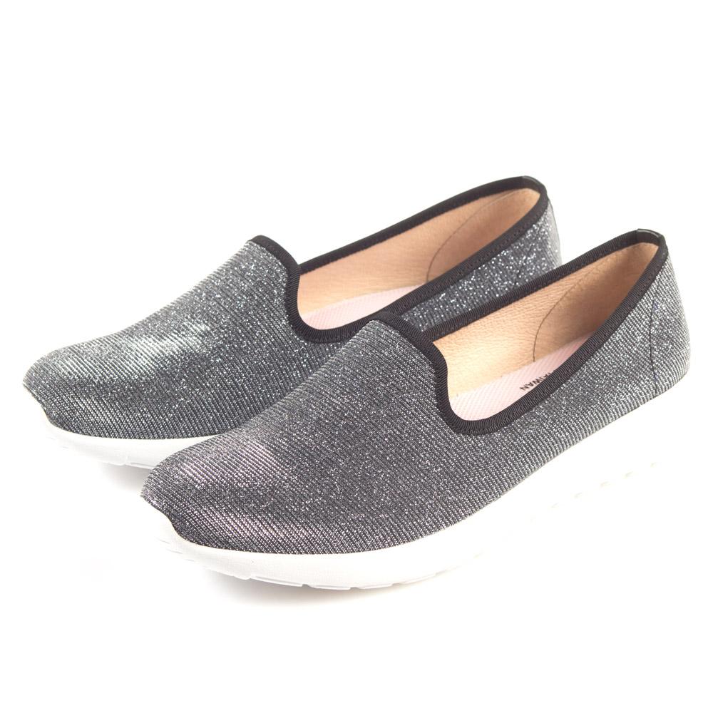 G.Ms. MIT極輕量系列-銀線針織網布記憶鞋墊樂福鞋-星河銀