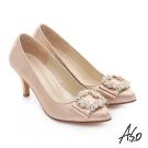 A.S.O 經典晚宴 閃亮絨面真皮水鑽蝴蝶結高跟鞋 金