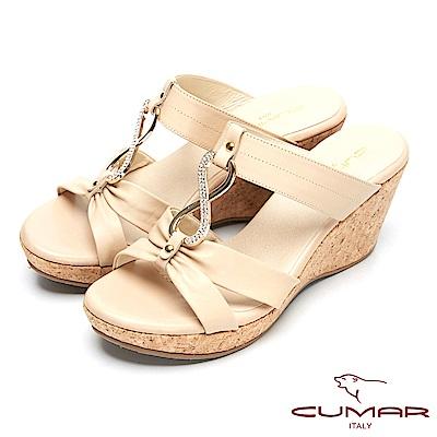 CUMAR時尚品味-優雅鑽飾真皮船形跟涼鞋-卡其
